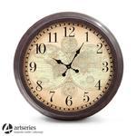 Brązowy zegar do powieszenia na ścianę, stylizowany na stary 97157 w sklepie internetowym Artseries.pl