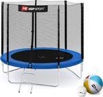 Trampolina 244cm 8FT z siatką zewnętrzną i drabinką Hop Sport (niebieska) / GWARANCJA 24 MSC. / Tanie RATY w sklepie internetowym Sport-Shop.pl