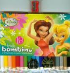 Kredki Bambino drewniane 18 kolorów z temperówką Disney Wróżki w sklepie internetowym Booknet.net.pl