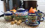Ręcznie malowany zestaw śniadaniowy ceramiczny Ceramika Artystyczna Woźniak w sklepie internetowym Uroda stolu