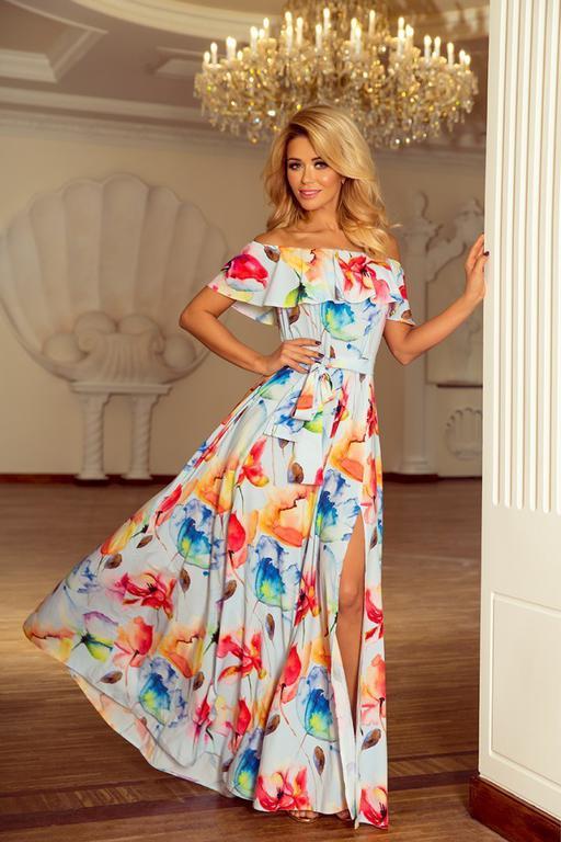 569f797320 194-1 Długa suknia z hiszpańskim dekoltem - kolorowe malowane kwiaty w  sklepie internetowym MyButik. Powiększ zdjęcie