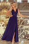 215-2 LEA długa suknia bez rękawków z haftowanym dekoltem - GRANAT w sklepie internetowym MyButik.pl