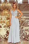 215-1 LEA długa suknia bez rękawków z haftowanym dekoltem - SREBRNA w sklepie internetowym MyButik.pl