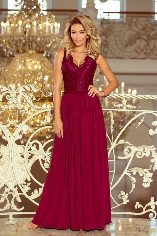 e964cf26bd78 211-2 LEA długa suknia bez rękawków z koronkowym dekoltem - BORDOWA w  sklepie internetowym. Powiększ zdjęcie
