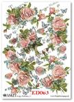 Papier do decoupage Asket ED 063 Róże, niezapominajki i motyle - kochają wiosenne chwile w sklepie internetowym Serwetnik.pl