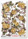 Papier do decoupage Asket ED 065 Żółte róże, fiołki, motyle - kochają wiosenne chwile w sklepie internetowym Serwetnik.pl