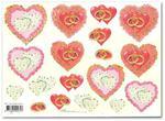 Papier do decoupage 3D Mireille E765 Różane serca i obrączki w sklepie internetowym Serwetnik.pl