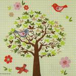 Wiosenne drzewko w ptaszkowym nastroju IHR serwetka do decoupage w sklepie internetowym Serwetnik.pl