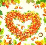 Serwetka do decoupage 2716 Dzikiej róży serce jesienne AMB w sklepie internetowym Serwetnik.pl