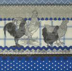 Kogut i kura w niebieskim nastroju serwetka do decoupage w sklepie internetowym Serwetnik.pl