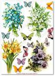 Papier ryżowy do decoupage Aquita AD0111 Kwiatki wiosenne w motylków miłym towarzystwie w sklepie internetowym Serwetnik.pl