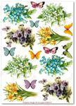 Papier ryżowy do decoupage Aquita AD0112 Kwiatki wiosenne w motylków miłym towarzystwie w sklepie internetowym Serwetnik.pl
