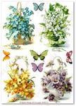 Papier ryżowy do decoupage Aquita AD0113 Kwiatki wiosenne w motylków miłym towarzystwie w sklepie internetowym Serwetnik.pl