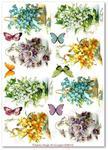 Papier ryżowy do decoupage Aquita AD0114 Kwiatki wiosenne w motylków miłym towarzystwie w sklepie internetowym Serwetnik.pl