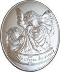 Srebrny obrazek z Aniołem Stróżem z latarenką w sklepie internetowym Upominki Religijne.pl