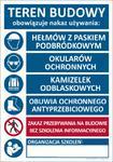 T020 TABLICA Teren Budowy - Nakaz używania środków ochrony indywidualnej i informacja o szkoleniach 100x70cm w sklepie internetowym Sklep-ppoz.pl
