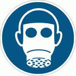 M017-F Znak PODŁOGOWY Nakaz stosowania ochrony dróg oddechowych ISO7010 Ø 50cm w sklepie internetowym Sklep-ppoz.pl